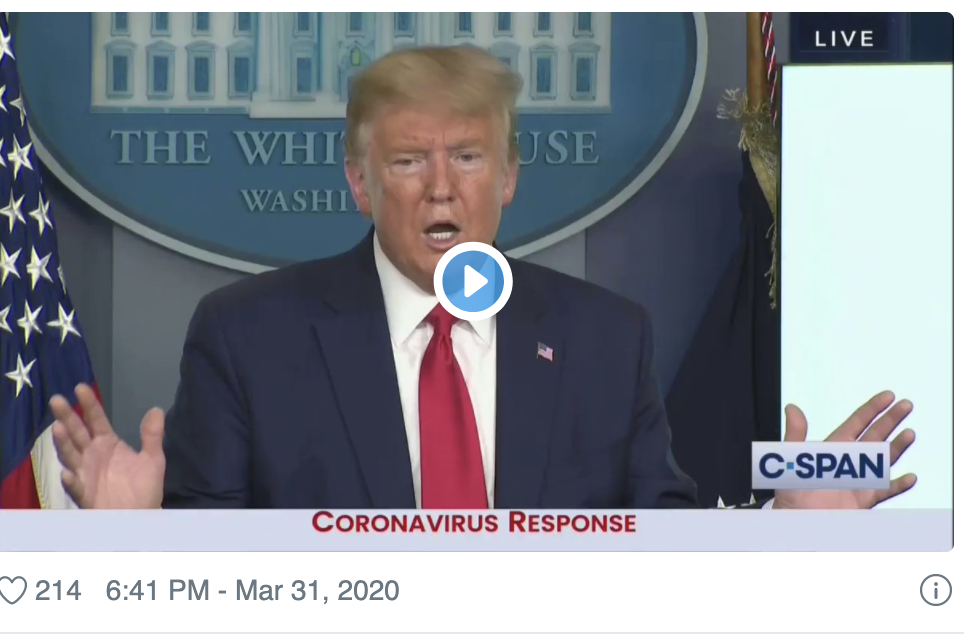 "President Trump Calls Coronavirus Pandemic ""Incredibly Interesting"", Says ""People Can't Get Enough of It"" 1"